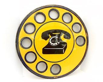Italian Public Telephone Bombé Enameled Metal Plaque Vintage Signage FREE SHIPPING (1406 1050)
