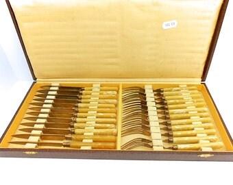 French Vintage Yellow Mottled Bakelite & Brass Dessert Knives and Forks Service for 12 (1406 434)