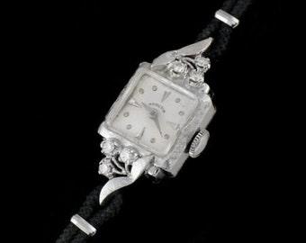Women's Vintage Hamilton 14K White Gold and Diamond Watch Bracelet
