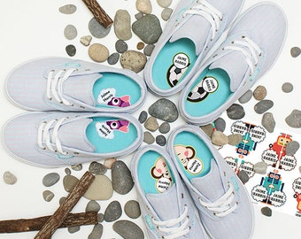 Personalized Scuff-proof Match-up scuff-proof Shoe Labels for kids