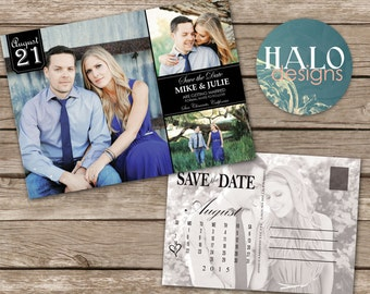 Classic Wedding Save the Date Postcard- printable card with calendar