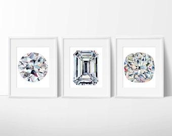 Set of 3 Old Diamond Watercolor Prints