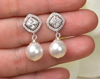 Bridal Pearl Earrings Pearl Cubic Zirconia Earrings Square Cut Earrings Wedding Jewelry Bridesmaid Gift
