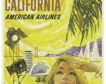 Vintage California American Airlines Travel Poster Print
