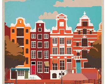 Vintage Amsterdam Travel Poster Print