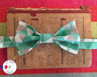 bowtie white grey green