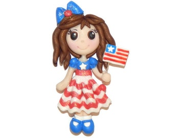 4th of July Holiday Patriotic Girl USA Flag New Handmade Polymer Clay Pendant/Magnet/Bead/Figure - Ornament - Pin