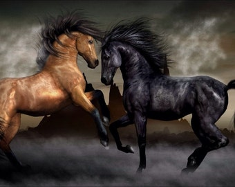 Buckskin and Black Horses on Canvas Ready To Hang