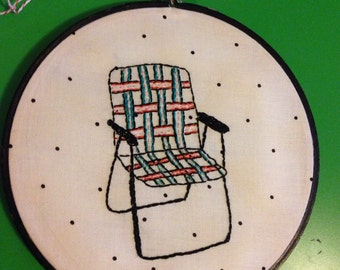 Retro lawnchair embroidery