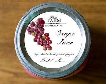 Customized Label - Grape Jelly, Jam, Preserves, Juice Canning Jar Label - Wide Mouth & Regular Mouth - All Text is Customizable
