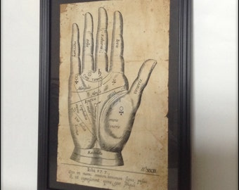 Palmistry Hand Aged Reproduction Print in Frame