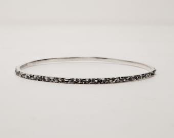 Textured Silver Bangles - Set of Three