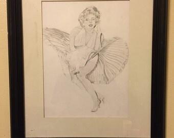 "Marilyn Monroe"" graphite drawing 16'x20' in"