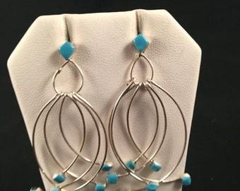 SALE Native American Zuni Turquoise & Sterling Silver Dangle Earrings