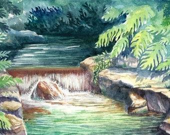 Waterfall. Original Watercolor Landscape Painting.