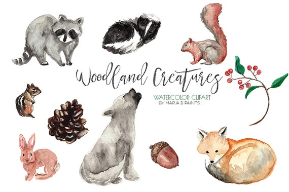 Watercolor Clip Art Woodland Forest by MariaBPaintsClipArt