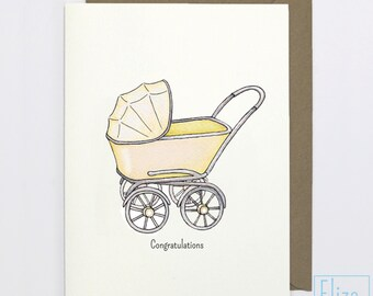 Yellow Pram - Congratulations // Illustrated Greeting Card