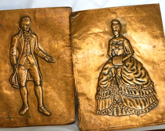 A Pair of Copper Repousse Pictures Depicting an 18th Century Lady & Gentleman