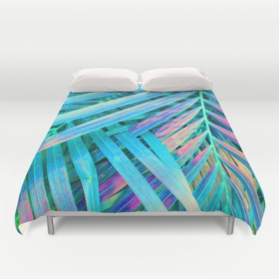 Blue Duvet Full Queen King Duvet Coastal Bedroom Decor Palm