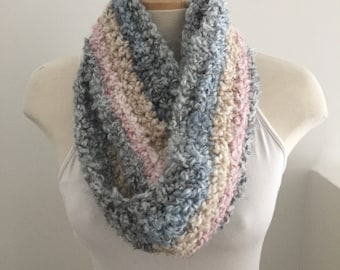 Soft Crocheted Multi Color Striped Infinity Scarf