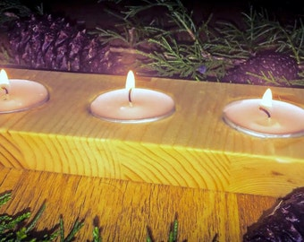Wooden candle holder.