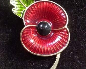 Remembrance Day World War Memory British Army Large Enamel Red Poppy Flower Pin Badge Brooch
