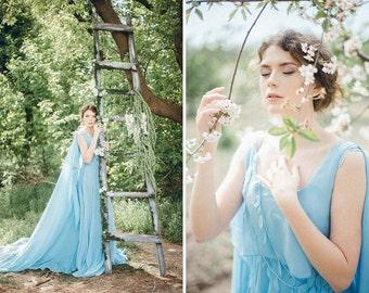 Blue wedding dress etsy blue wedding dress with a cape serenity chiffon bohemian light blue bridal gown non junglespirit Gallery