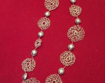 Crochet Circles and Ball Sterling Silver Necklace