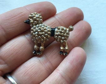 Vintage Poodle Dog Pin With Texture and Black Muzzle and Waist