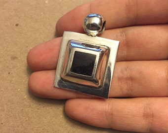 Vintage Sterling silver handmade square pendant, solid Mexico 925 silver with obsidian, black onyx inlay, stamped maxico 925, signed