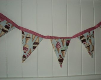 Ice cream bunting with pink sparkly binding