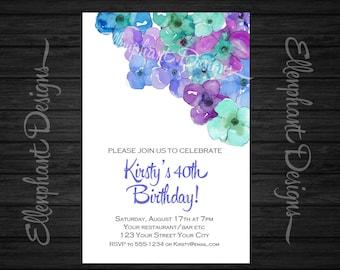 Floral 40th Birthday Invitation, 30th, 50th, 60th, Blue, green, teal, pretty, flower, female, adult, custom invite, digital file, you print