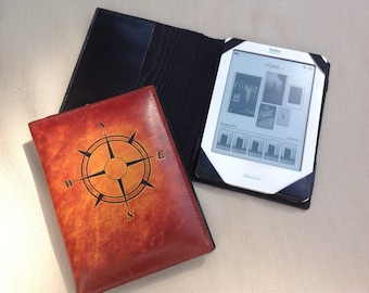 E reader, first generation Kobo case, leather kobo case, book style leather e reader case, hand dyed, compass rose