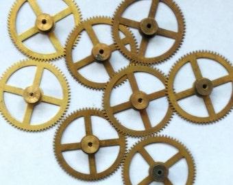 6pcs Steampunk Vintage Watch Movement Clock Parts Gears Cogs Wheels Large Size 44mm