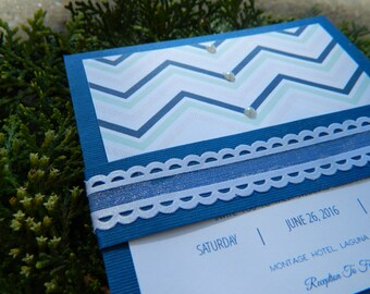 Handmade Dark blue wedding invitation