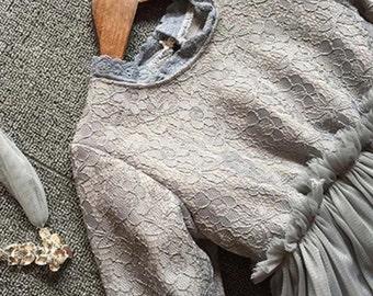 Gray Lace Tutu Dress