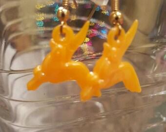 Orange bird earrings