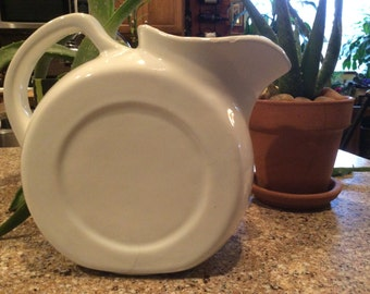 Pitcher, Vintage White Water Pitcher, Water Pitcher,  Old Pitcher