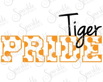 Tiger Pride Cut File Tiger svg Tiger Mascot Polka Dot svg High School Clipart Svg Dxf Eps Png Silhouette Cricut Cut File Commercial Use