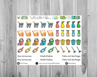 All about Chores / Plum Paper Planner / Plum Paper Designs / Functional Stickers / Chores Planner Stickers / Chores / Planners / Simple Plan