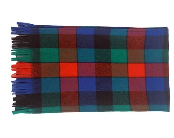 Blue Red and Green Plaid Wool Pendleton Scarf