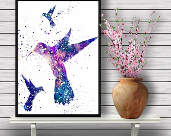 Three Hummingbirds,Colorful, Watercolor Print, Bird, Animal, Nature, Watercolor Art, Home Decor, Poster, gift, print(04)