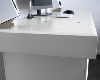 Modern Computer Desk, Built in Storage & Cable Management | Pi Work Desk |