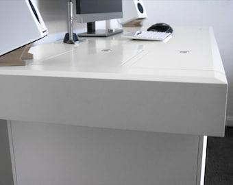 Modern Computer Desk | Pi Work Desk | Built in Storage & Cable Management