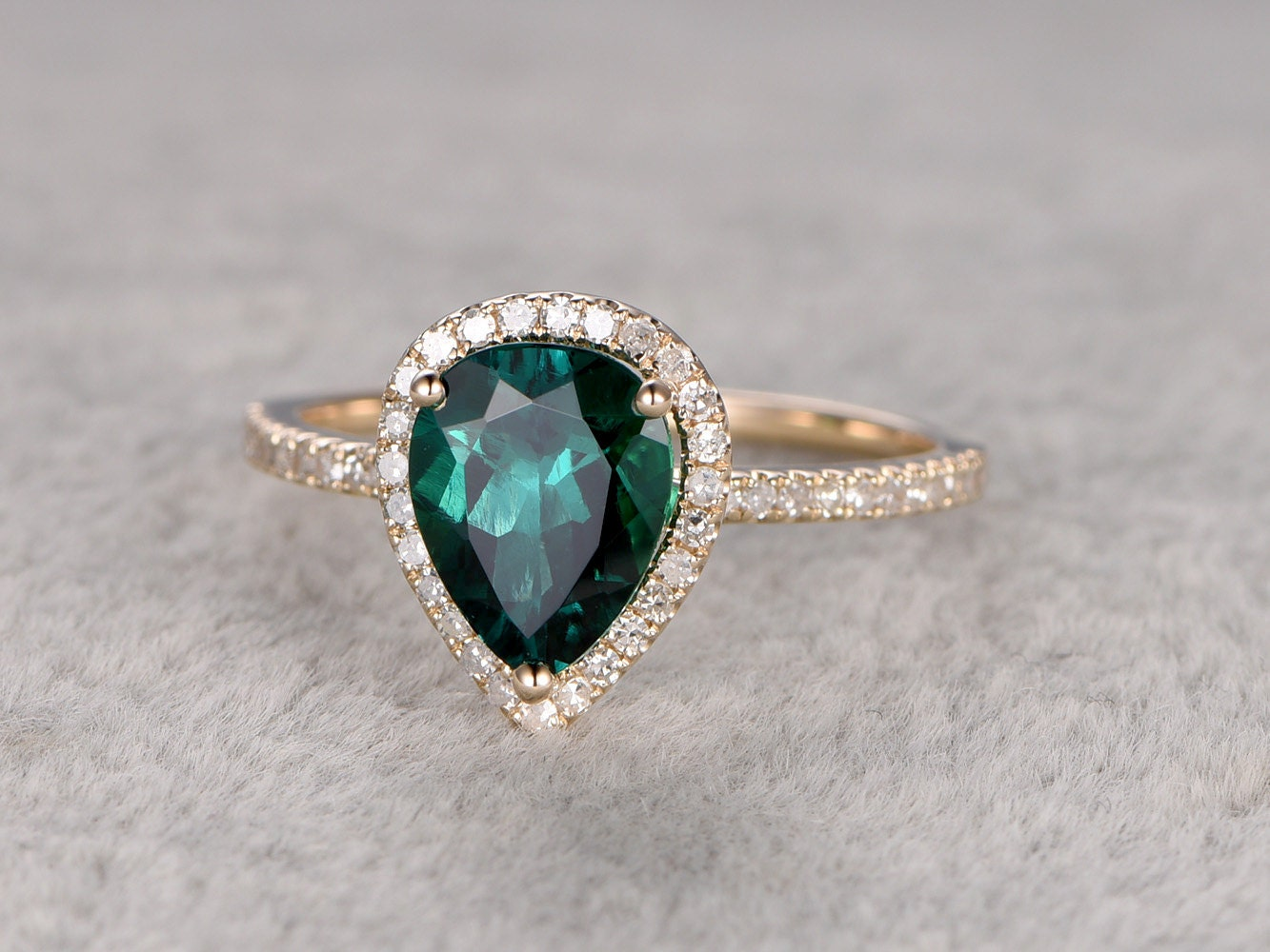 Emerald Engagement ring Yellow goldHalo Diamondwedding by popRing
