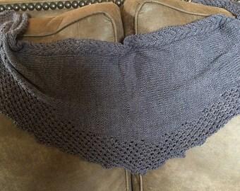 Light Muted Purple Scarf Wrap Handmade Knitted