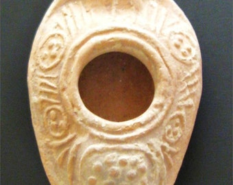 Byzantine Pottery Oil Lamp, 6th-7th Century AD
