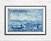 Canada Post, Canada Postage, stagecoach print, airmail print, airplane art, 1950s art, fine art etching, large fine art print, blue wall art