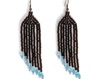 Beaded Long Earrings Black Turquoise Handmade Shimmering