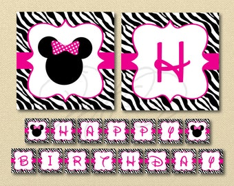 Minnie Mouse Banner, Zebra Minnie Mouse, Happy Birthday Banner, Minnie Mouse Birthday, minnie mouse decoration, zebra birthday banner, pdf